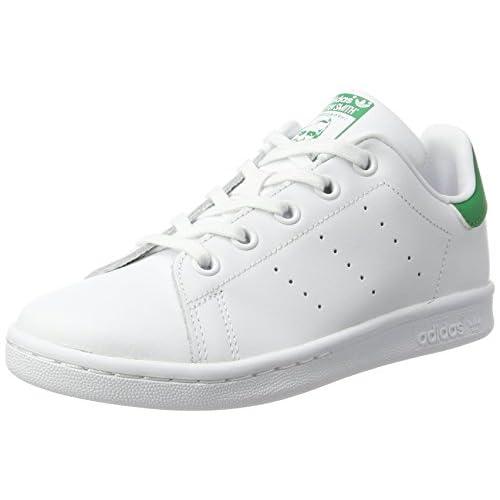 adidas Stan Smith C, Scarpe da Ginnastica Basse Unisex-Bambini, Bianco (Footwear White/footwear White/green), 31 EU