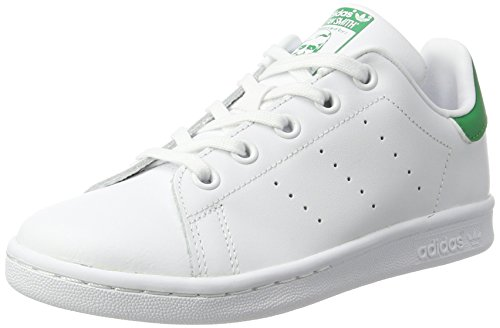 adidas Unisex-Kinder Stan Smith Basketballschuhe, Weiß (Ftwwht/Ftwwht/Green), 33 EU