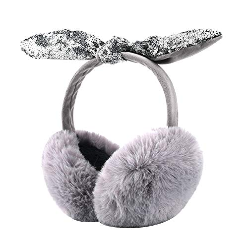 Amorar Damen Mädchen Ohrenschützer Winter Warm Plüsch Ohrenwärmer Paillettenschleife Faltbare Ohrwärmer Earmuffs Winterzubehör Grau