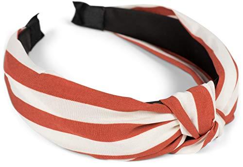 styleBREAKER Dames haarband met strepenpatroon en knopen in retrostijl, vintage look, haarband, hoofdband 04027016, Farbe:Roest-wit