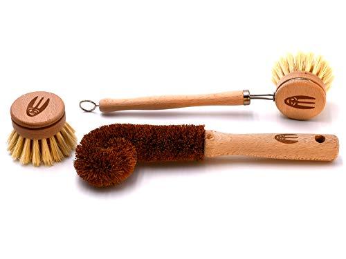 WooGlaSte® - Ensemble de Brosses à vaisselle en bois - 1 Brosse en Fibre Naturelle Sisal d'Agave - 1 Tête de Rechange - 1 Brosse en Fibre Naturelle Noix de Coco - 1 Sac Réutilisable en Lin