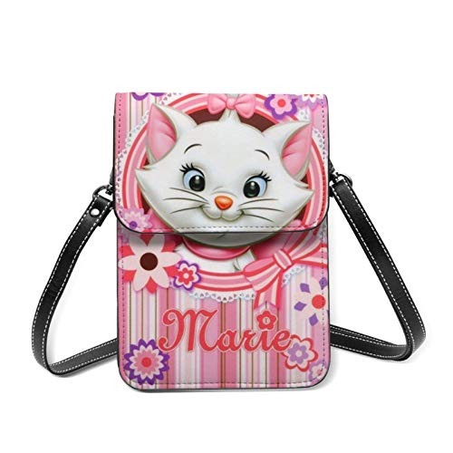 XCNGG Monedero pequeño para teléfono celular Anime Marie Cat Cell Phone Purse Small Crossbody Bag Women Leather Mini Cell Phone Pouch Shoulder Bag to Carry Dexterous Convenience with Adjustable Strap