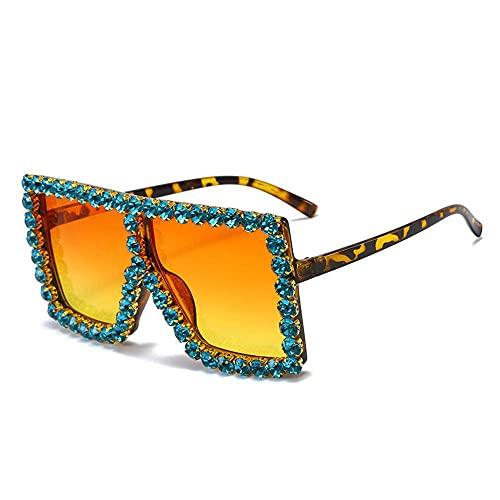 N\C Gafas de sol cuadradas de gran tamaño con diseño de cristal de diamantes de imitación de marco grueso gafas de sol exageradas parte superior plana gafas de sol de