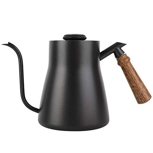 ZXvbyuff 850ml Edelstahl Gooseneck Tee-Kessel Drip Over Kaffee Kettle Teekessel mit Holzgriff, Temperieren Topfhaupt Kleiner Mund Topf mit Thermometer
