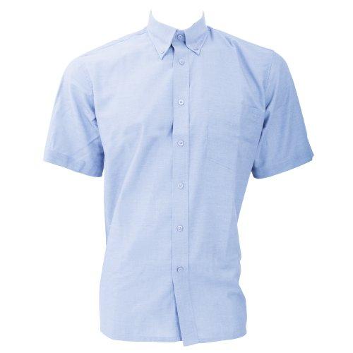 Dickies - Camisa de Manga Corta Modelo Oxford Algodón/Poliéster para Hombre Caballero - Fiesta/Trabajo/Eventos Importantes (Cuello 46cm) (Azul Claro)