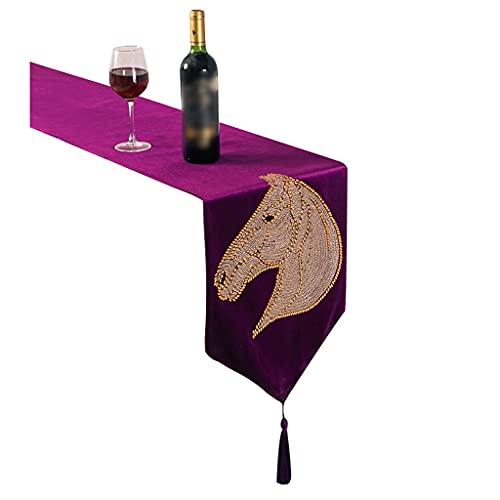 Caminos de mesa Corredor De La Tabla De Gasa Gasa Cabeza De Caballo Granja (Color : Purple, Size : 200 * 32cm)