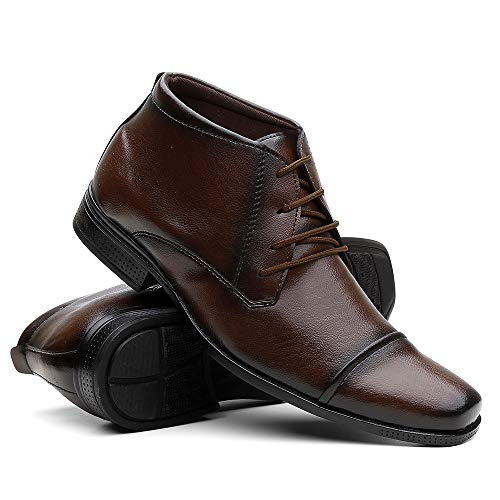 Sapato Social Masculino Cano Médio Em Couro - Capuccino/40