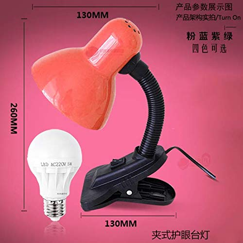 Lámpara de mesa hierro dormitorio dormitorio plug-in LED eye guard tifón escritorio universitario estudiantes simples modernos clip cama pequeña lámpara 30 * 12.5cm 14