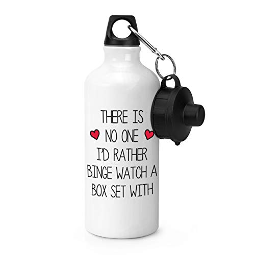 Gift Base There Is No One I'd Rather Binge Armbanduhr mit Sportflasche, 600 ml, Weiß