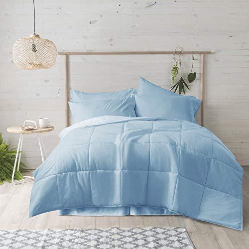 New Sega Home Ultra Reversible Down Alternative Comforter, Twin, Blue/Light Blue