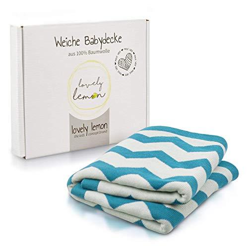 lovely lemon Babydecke aus Baumwolle für Jungen in Blau-Mint | Weich und flauschig | Weich und Flauschig zum Pucken | Hochwertiges Jacquardmuster | 75 x 100 cm