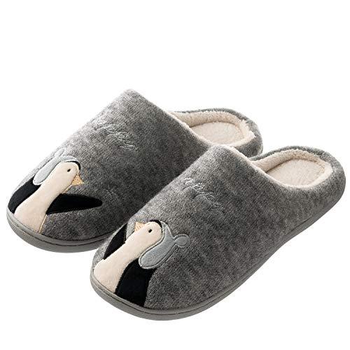 Tofern - Pantofole da donna e uomo, con suola in gomma, Grigio (Pinguino grigio.), 34/36 EU
