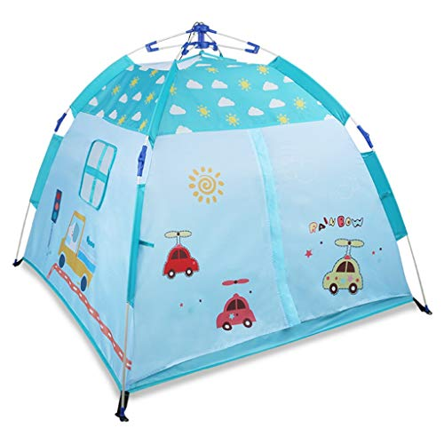 Tents Outdoor Automatic, Pop-up Play for Child Outdoor Camping 2 Size Cartoon Playhouse Gift for Kids (Color : Blue, Size : 140 * 140 * 110CM)