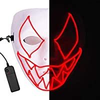 LEDマスク ハロウィン仮面 仮装マスク 3つモード ELワイヤー 光るおもちゃ パーティー 学園祭 記念日 なりきり道具 コスチューム用小物 怖いマスク 子供 大人用