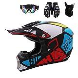 Xiaol Casco de moto, casco protector de motocross para motos, crossbike, off road y enduro con guantes, pasamontañas y gafas