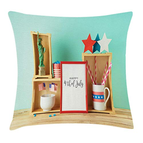 N / A Sofa Cushion Cover,Hotel Throw Pillow Cover,Personalized Pillowcase,Stylish Pillowslip,Patriotic Theme Arrangement Design On Wooden Table Image Picture Square Pillow