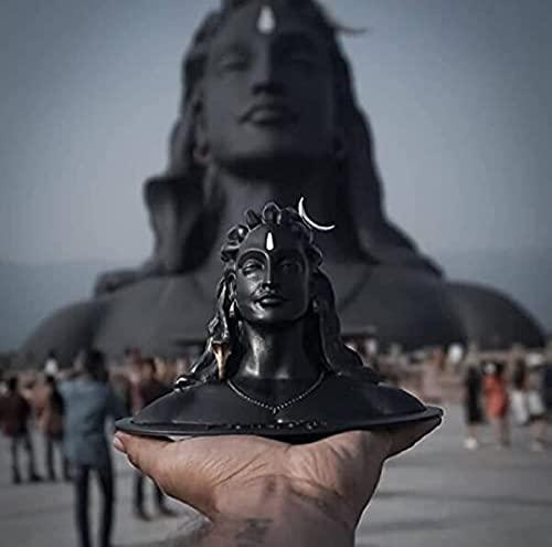 ADIYOGI Estatua para salpicadero de coche, tamaño A1, color negro mate, ideal para decoración del hogar, regalo, estatua del salpicadero del coche, fabricado en la India