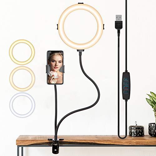 TARION Tisch Lichtstativ Klemmstativ mit 8 Zoll Ringlicht und Handyhalterung, Flexibel Klemme Ständer für Fotografie Streaming Video Aufnahme (Ringlicht + Klemmstativ)