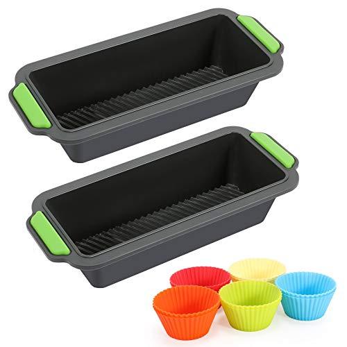 Moldes para Hornear Pan Antiadherentes 12 en 1 Kit, Moldes de panadería, moldes de Pan Rectangular, Silicona moldes no pegajosos para tortas y Pan caseros+10 Moldes de cupcake reutilizables