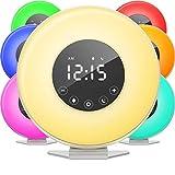 DHDHWL Sveglia Alba Alarm Clock - Orologio LED Digitale con 6 Interruttore Colori e Radio FM for camere da Letto, con Funzione Snooze for Le traversine Pesanti Uffic