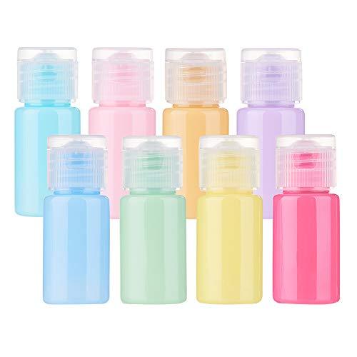 BENECREAT 24 STÜCKE 10 ml Macaron Leere Lotionsflasche mit Flip Cap Kunststoff Air Flight Reiseflaschen für Duschgel Shampoo Parfüm Toilettenartikel