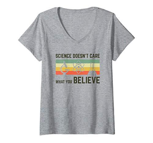 Mujer Física de regalo para el profesor de ciencias Camiseta Cuello V