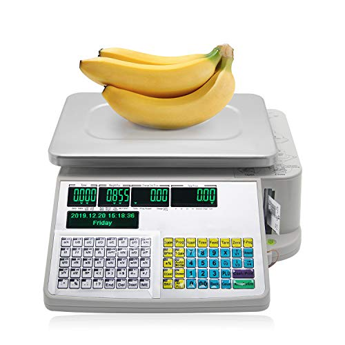 CGOLDENWALL Báscula Comercial Con Ticket Balanza Indsutrial Programable para Código de Barras / Código QR, con Plataforma de Acero Inoxidable 32x22cm - Disponible en Español (6kg)