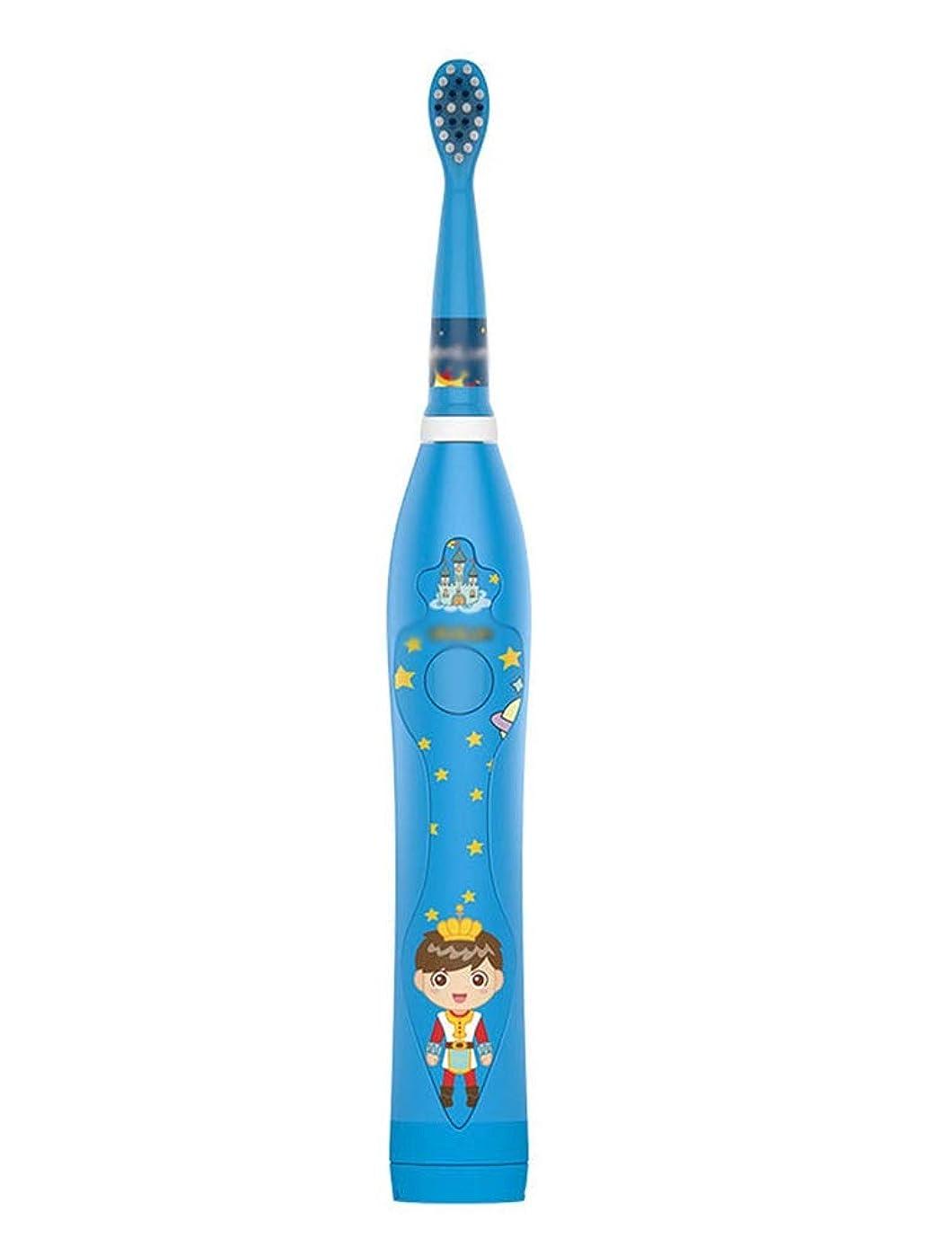 凍るシャツ消費者新しい子供の電動歯ブラシ、IPX7レベルUSBスマート充電、サイレント高周波電動歯ブラシ (Color : Blue)