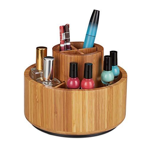 Relaxdays, natur Make Up Organizer, Bambus, 360 drehbar, rund, für Pinsel, Lippenstift & Kosmetik, Stiftehalter, D: 20cm, 15 x 20 x 20 cm