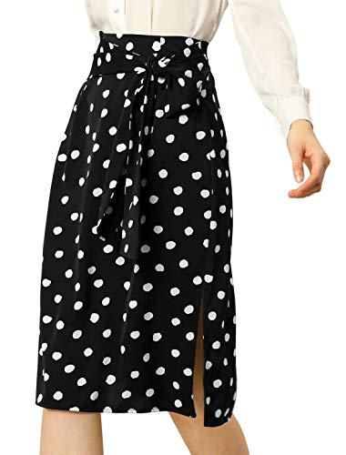 Allegra K Falda Midi con Cintura Anudada Lunares Retro para Mujer Negro M