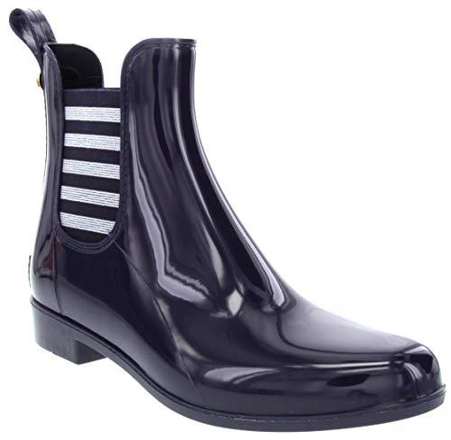 LONDON FOG Womens Typhoon Rain Boot Navy 8