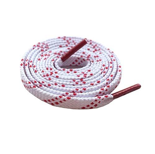 Cordones para correr Planos Blanco y Rojo Rayado Poliéster Ocio Tela Cordones