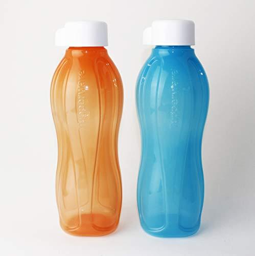 EcoEasy TUPPERWARE to Go Trinkflasche 2X 750ml Hellblau + Orange mit Schraub Weiß + Falt-Trichter