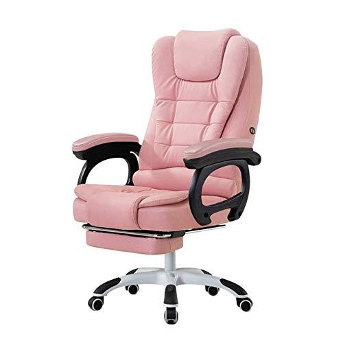 HIZLJJ Silla Alta Oficina Ejecutiva Volver con Acolchado Grueso reposacabezas y reposabrazos Inicio Silla de Oficina con función de inclinación (Color : Pink)