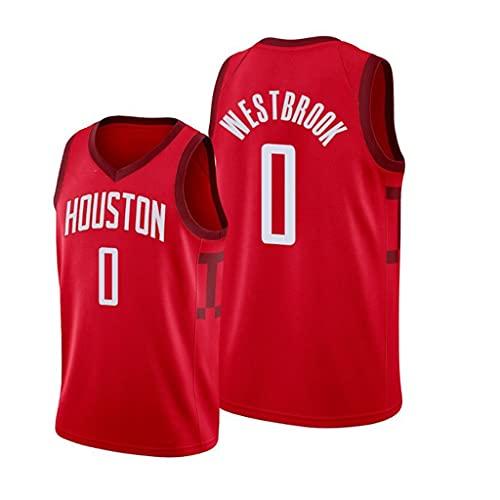 ZRHZB Nueva Camiseta de Baloncesto, Camiseta NBA Houston Rockets 0# Westbrook, Estilo Clásico Conmemorativo de Los Fanáticos, Chaleco Sin Mangas de Malla Transpirable,M