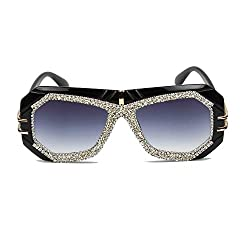 Gray Oversize Pilot Sunglasses With Rhinestone