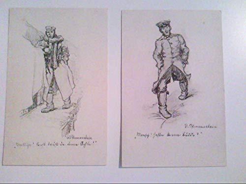 Zeichnung. Soldat. Spruch. R. Blumenschein. Zwei AKs.