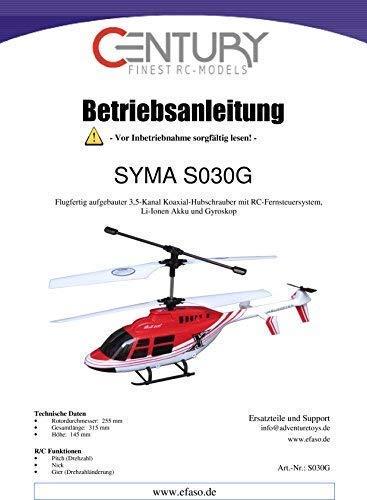 efaso Bedienungsanleitungen für Syma RC Modelle (Syma 030G)