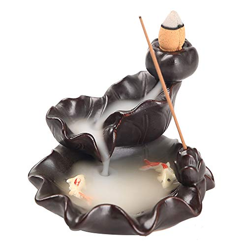 Kingsglen Waterfall Incense Burner,Lotus Backflow Incense Burner with 50 Cones+30 Incense Sticks