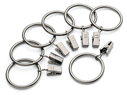 Perfect Order Iron Metal Curtain Clip Rings 1 1/2 Inch Interior Diameter (10, Gunmetal)