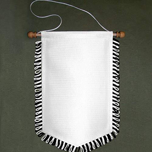 Copytec Wimpel Blanko Sublimationsdruck schwarz weiß Fransen Bedruckbar 16x25cm #16887