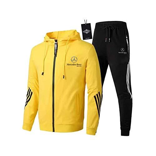 AGLOAT Herren und Damen Sportanzug Für Mercedes-Ben.Z A.M.G Zweiteilige Jacke Pants Stripe mit Kapuze Trainingsanzug Mantel,Gelb-M