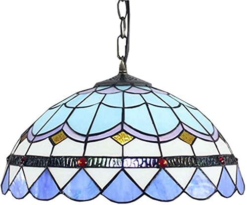 TOPNIU Art Nouveau Tiffany Style Lámpara Colgante de 12 Pulgadas Vintage Mediterráneo Manchado Azul Sombra de Plumas E27 Luces Colgantes para Comedor Corredor 110V-240V