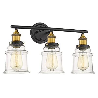 """Vanity Lights Wall Lights Bathroom Vanity Lighting, Beionxii 21"""" in Length 3-Lights Industrial Retro Antique Wall Sconce Lamps Brushed Brass Black Finish with Clear Glass Shade for Bathroom Kitchen"""