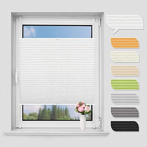 HOMEDEMO Plissee Klemmfix ohne Bohren Jalousien Rollo (Weiß, 90x130cm) Plisseerollo mit Klemmfixträger, Faltrollo Sicht und Sonnenschutz für Fenster & Tür