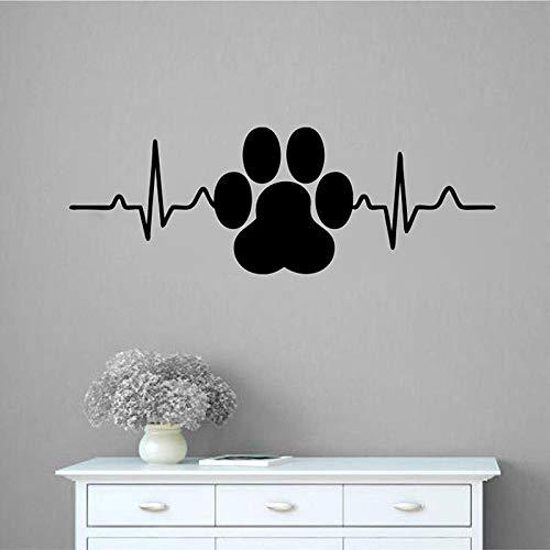 N\A Etiqueta engomada de la Pared de la decoración del hogar del Artista del Vinilo del Latido del corazón con la impresión de la Pata del Perro