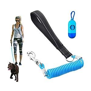 Corde Laisse pour chien avec 2poignées rembourrées et extra gratuit pour ceinture de sécurité Laisse pour chien, 1,5m Corde Twist Laisse haute réfléchissant et solide tirer durable pour tous les chiens
