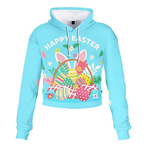 kexx Conejito de Pascua Camisas Lucky Charm Mujer Easter Egg Girls Pullover Hoodie T-Shirt