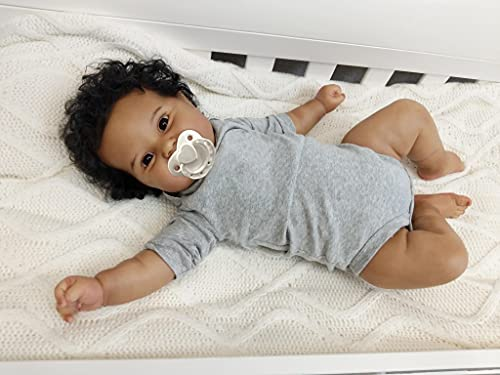 Lifelike African American Reborn Baby Doll Boy Black, 20 inch Real Life Soft Silicone Weighted Smile Newborn Baby Doll with Clothes for Kids Toys
