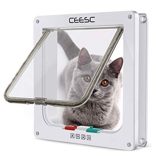 CEESC Gattaiola Porta Basculante per Gatti e Cani,Entrata e Uscita Controllabili, Facile da Installare Gattaiola per Gatti Grandi(Bianca, M)